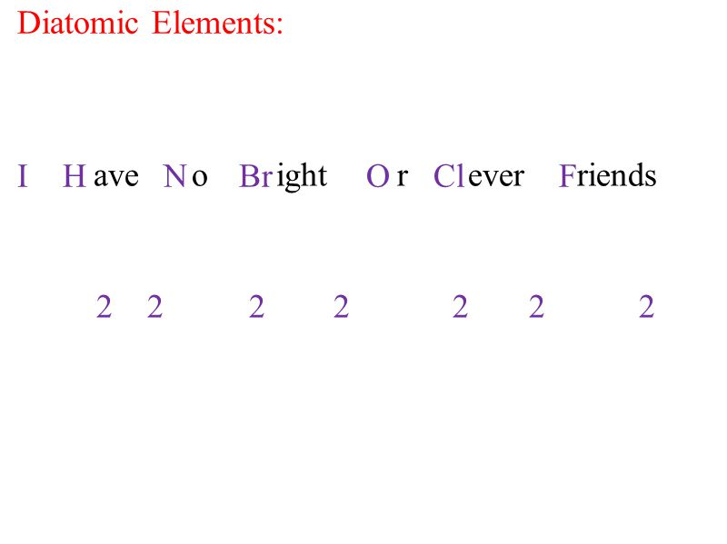 I H N Br O Cl F ave o ight r ever riends Diatomic Elements: 2 2 2 2 2 2 2