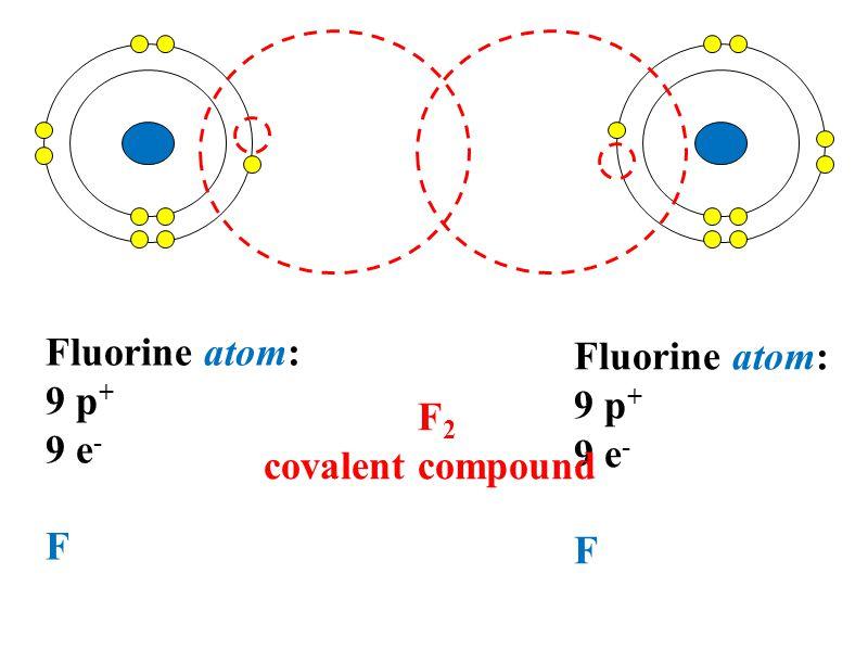 Fluorine atom: 9 p + 9 e - F Fluorine atom: 9 p + 9 e - F F 2 covalent compound