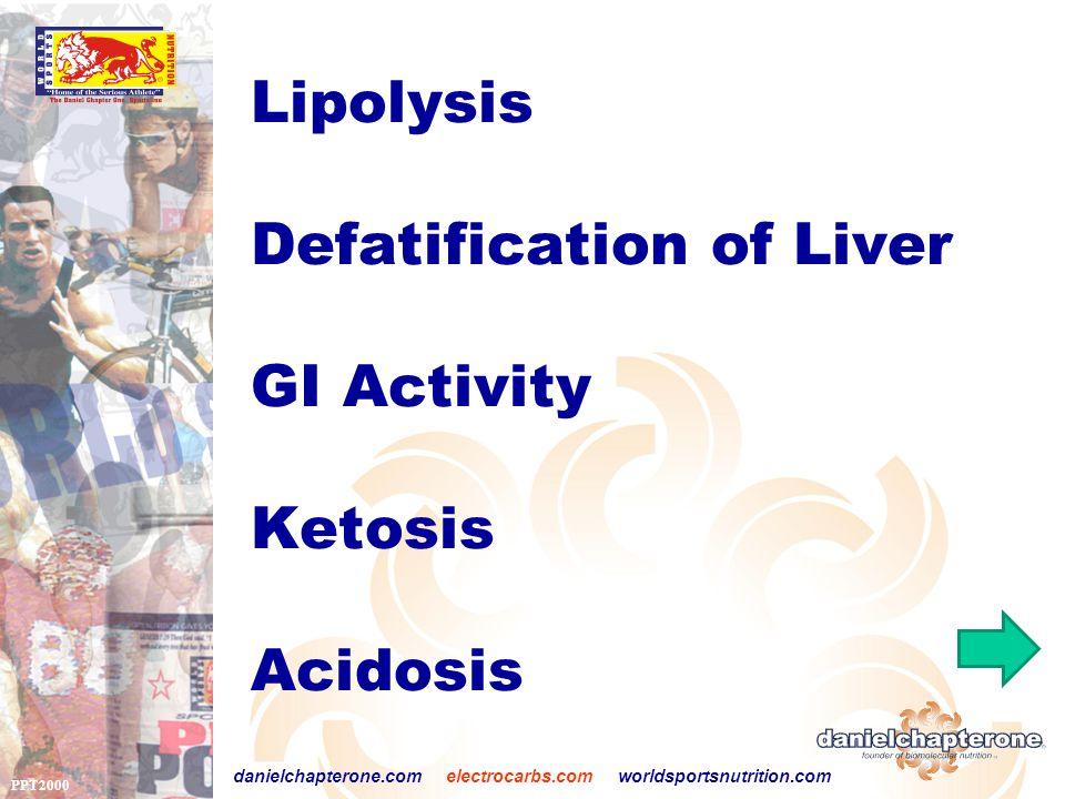 PPT2000 danielchapterone.com electrocarbs.com worldsportsnutrition.com Lipolysis Defatification of Liver GI Activity Ketosis Acidosis