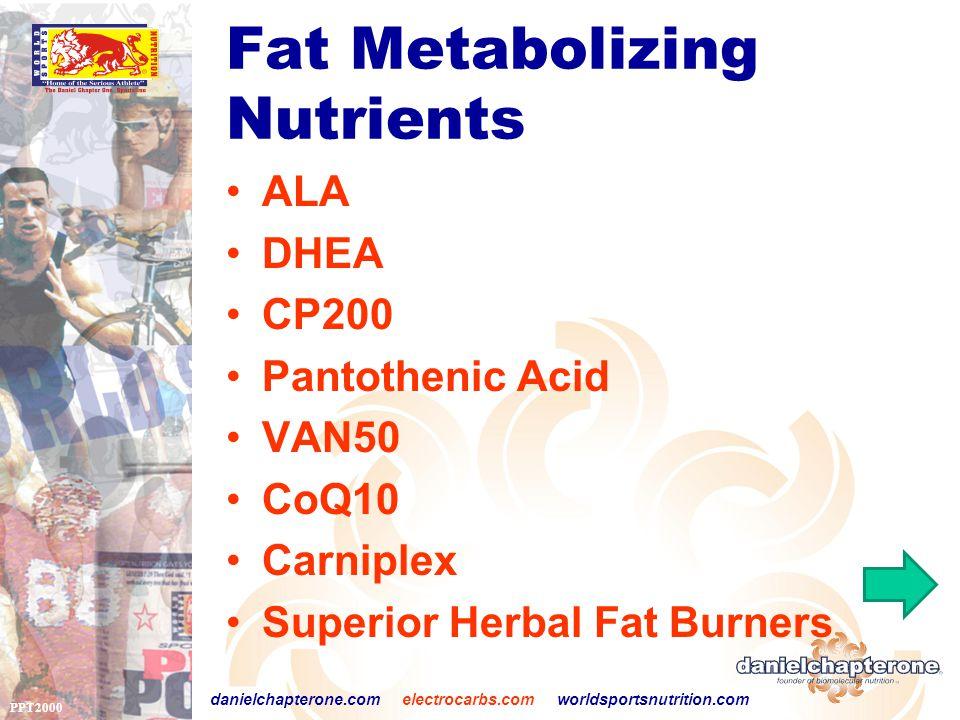 PPT2000 danielchapterone.com electrocarbs.com worldsportsnutrition.com Fat Metabolizing Nutrients ALA DHEA CP200 Pantothenic Acid VAN50 CoQ10 Carniplex Superior Herbal Fat Burners