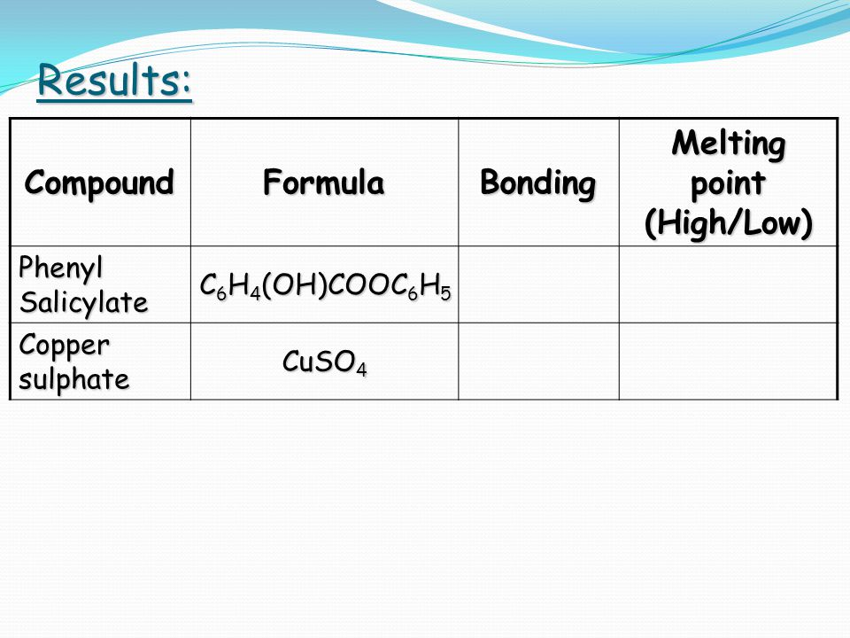Conclusion: In general, Ionic compounds  high melting points Covalent compounds  low melting points
