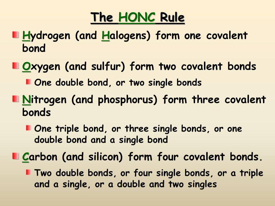 The HONC Rule HH Hydrogen (and Halogens) form one covalent bond O Oxygen (and sulfur) form two covalent bonds One double bond, or two single bonds N Nitrogen (and phosphorus) form three covalent bonds One triple bond, or three single bonds, or one double bond and a single bond C Carbon (and silicon) form four covalent bonds.