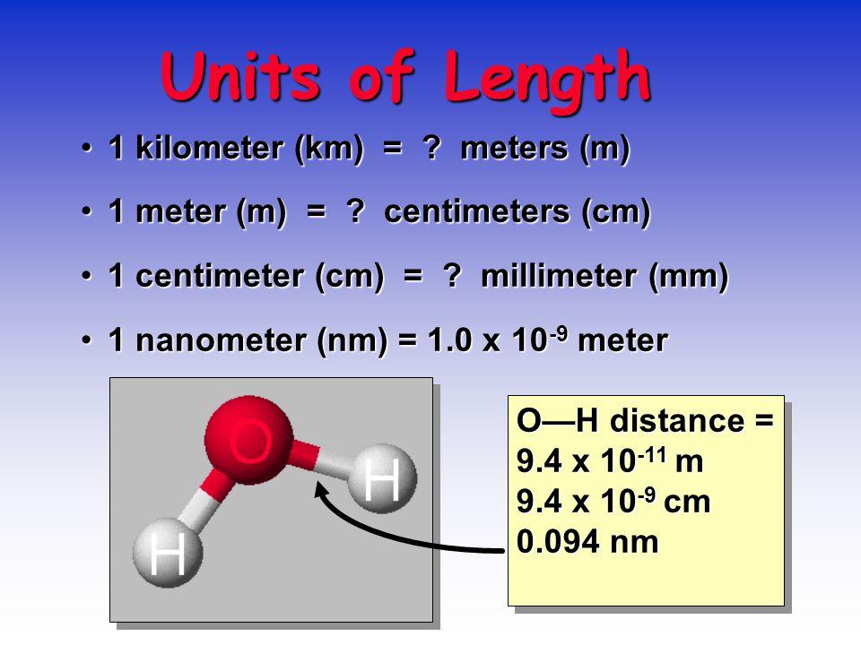 Units of Length 1 kilometer (km) = . meters (m)1 kilometer (km) = .