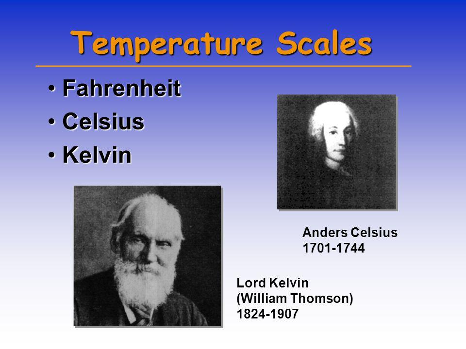 Temperature Scales FahrenheitFahrenheit CelsiusCelsius KelvinKelvin Anders Celsius 1701-1744 Lord Kelvin (William Thomson) 1824-1907