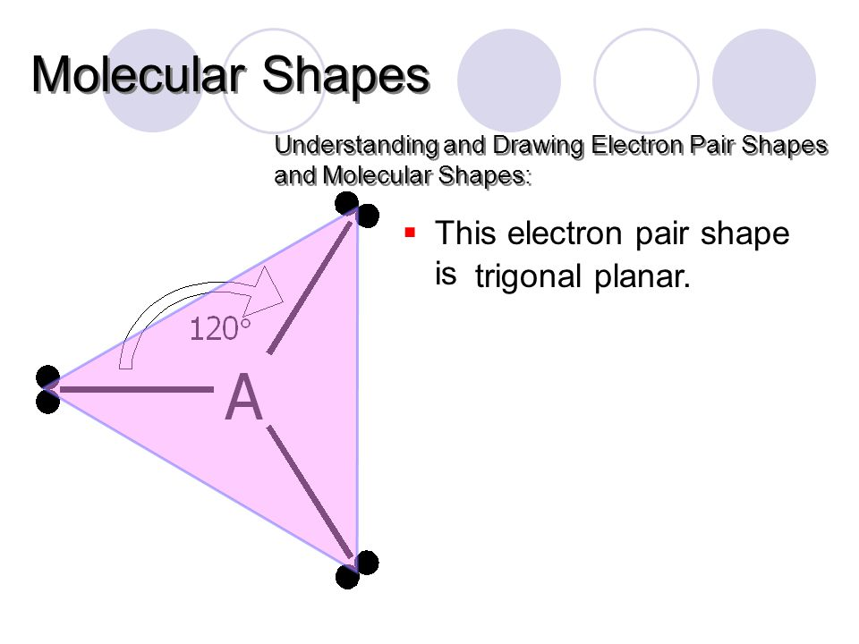  This electron pair shape is Understanding and Drawing Electron Pair Shapes and Molecular Shapes: Molecular Shapes trigonal planar.