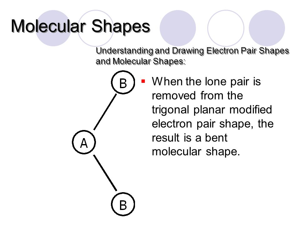  When the lone pair is removed from the trigonal planar modified electron pair shape, the result is a bent molecular shape.