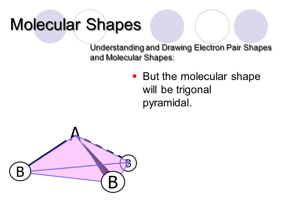 Understanding and Drawing Electron Pair Shapes and Molecular Shapes: Molecular Shapes B B B  But the molecular shape will be trigonal pyramidal.