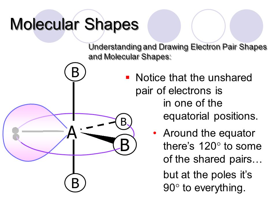 Understanding and Drawing Electron Pair Shapes and Molecular Shapes: Molecular Shapes B B B  Notice that the unshared pair of electrons is in one of the equatorial positions.