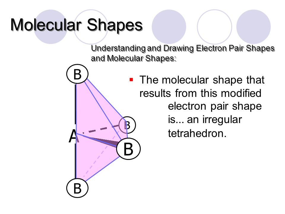 B Understanding and Drawing Electron Pair Shapes and Molecular Shapes: Molecular Shapes  The molecular shape that results from this modified electron pair shape is...