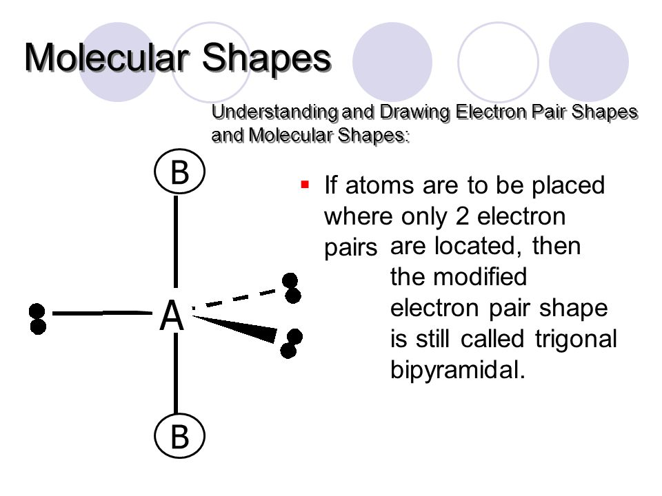 Understanding and Drawing Electron Pair Shapes and Molecular Shapes: Molecular Shapes  If atoms are to be placed where only 2 electron pairs are located, then the modified electron pair shape is still called trigonal bipyramidal.