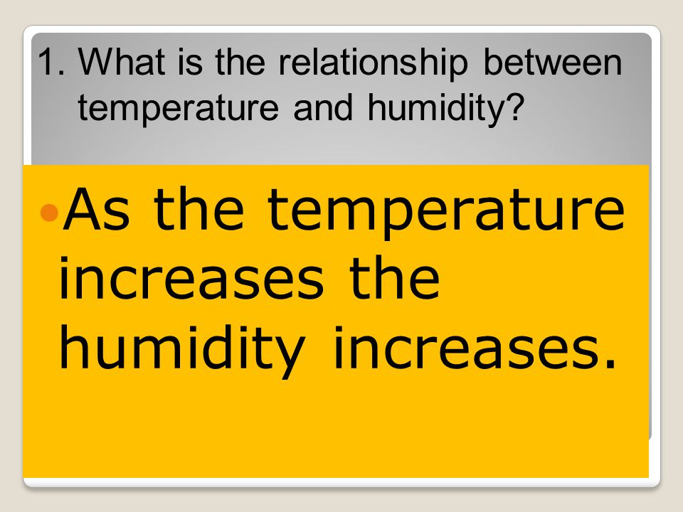1.What is the relationship between temperature and humidity.