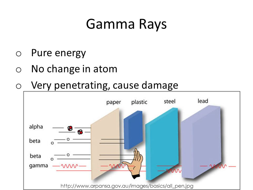Gamma Rays o Pure energy o No change in atom o Very penetrating, cause damage http://www.arpansa.gov.au/images/basics/all_pen.jpg