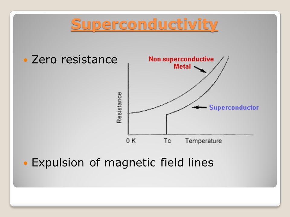 Critical temperature MaterialTcTc Gallium1.1K Aluminum1.2 K Indium3.4 K Tin3.7 K Mercury4.2 K Lead7.2 K Niobium9.3 K La-Ba-Cu-oxide17.9 K Y-Ba-Cu-oxide92 K Tl-Ba-Cu-oxide125 K Electrical resistance drops to zero Materals with a ct arround 120 K can be cooled down with liquid nitrogen (77K )