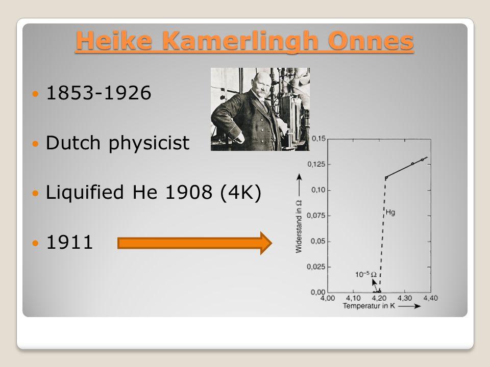 Heike Kamerlingh Onnes 1853-1926 Dutch physicist Liquified He 1908 (4K) 1911