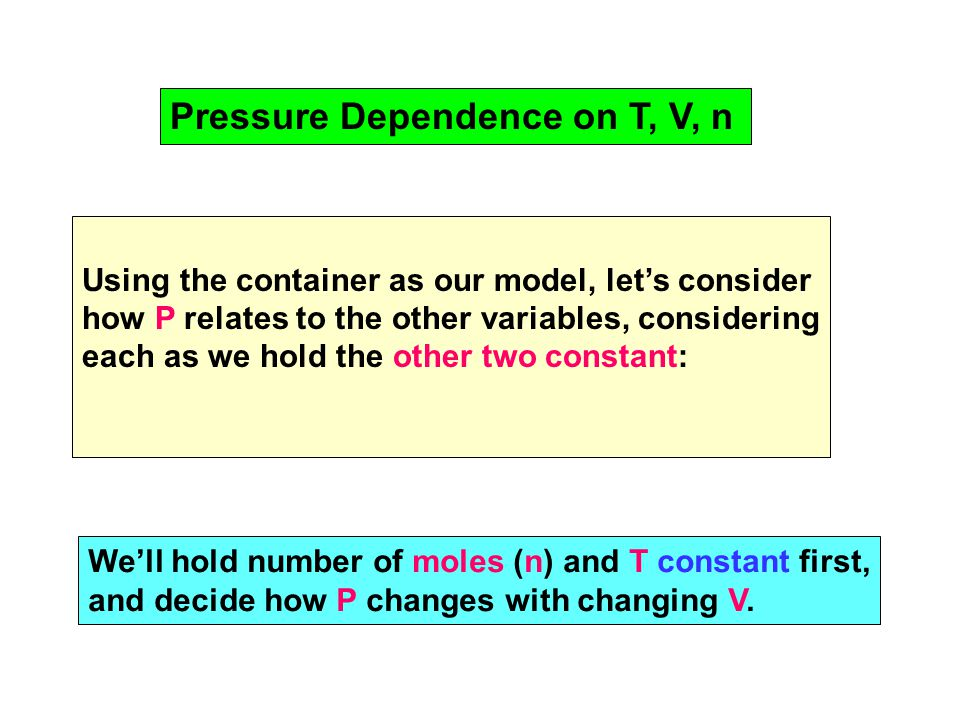 Pressure Dependence on T, V, n Using the container as our model, let's consider how P relates to the other variables, considering each as we hold the other two constant: We'll hold number of moles (n) and T constant first, and decide how P changes with changing V.