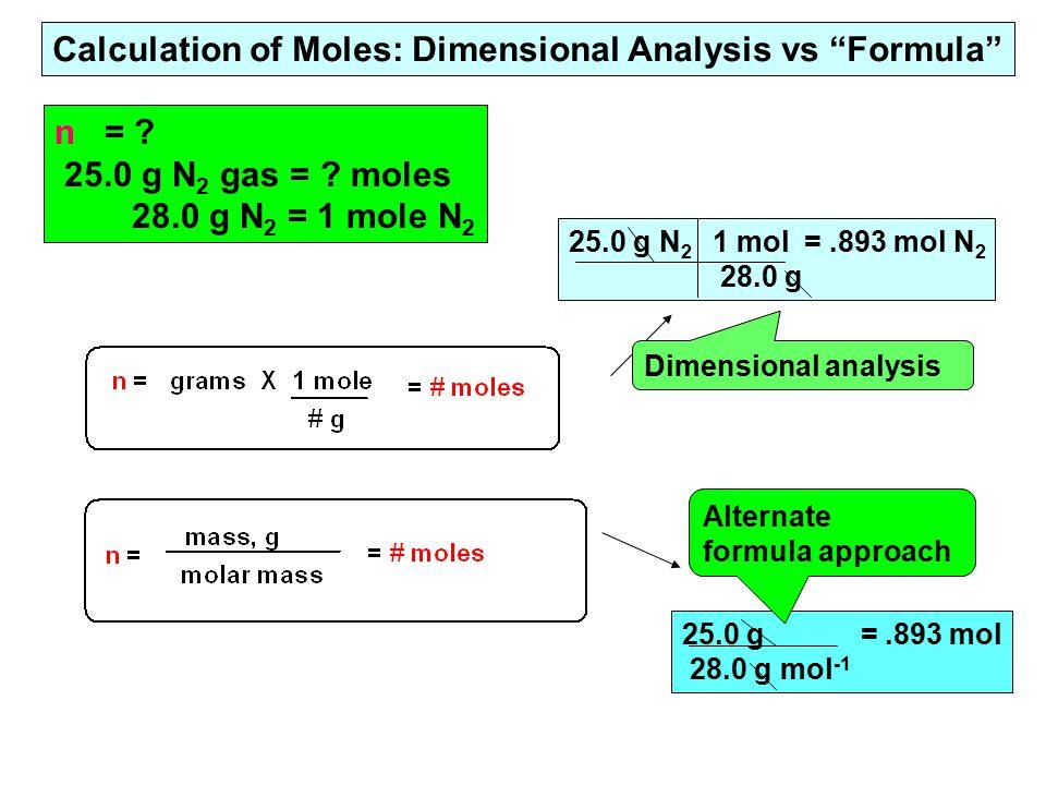 n = .25.0 g N 2 gas = .