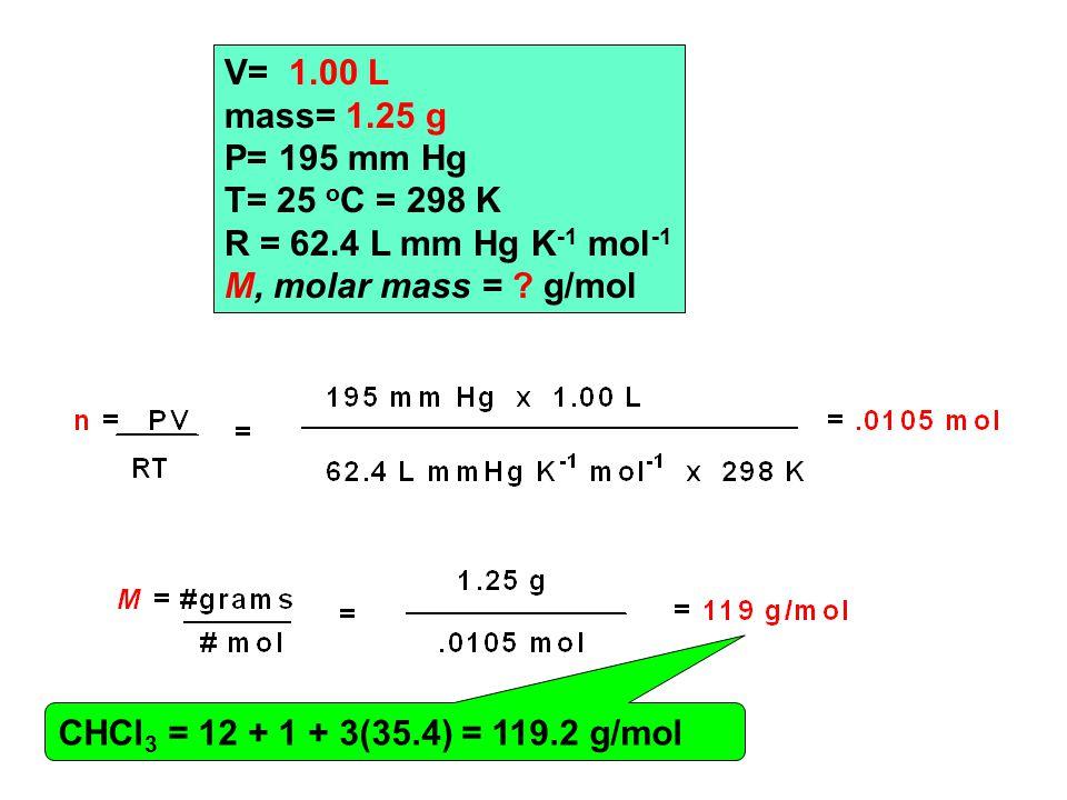 V= 1.00 L mass= 1.25 g P= 195 mm Hg T= 25 o C = 298 K R = 62.4 L mm Hg K -1 mol -1 M, molar mass = .