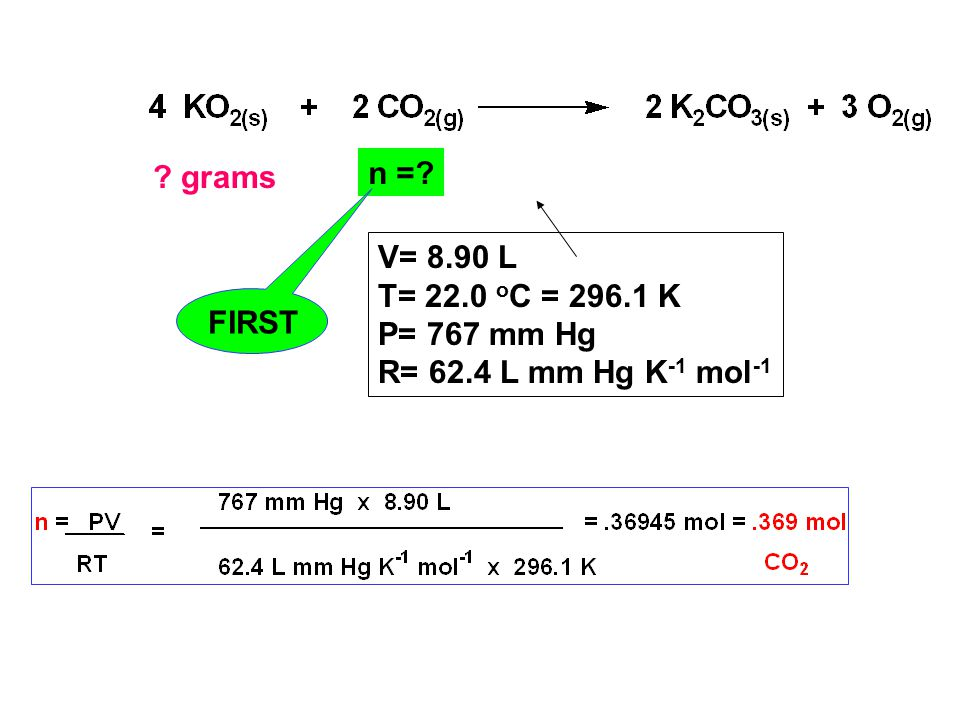 grams V= 8.90 L T= 22.0 o C = 296.1 K P= 767 mm Hg R= 62.4 L mm Hg K -1 mol -1 n = FIRST