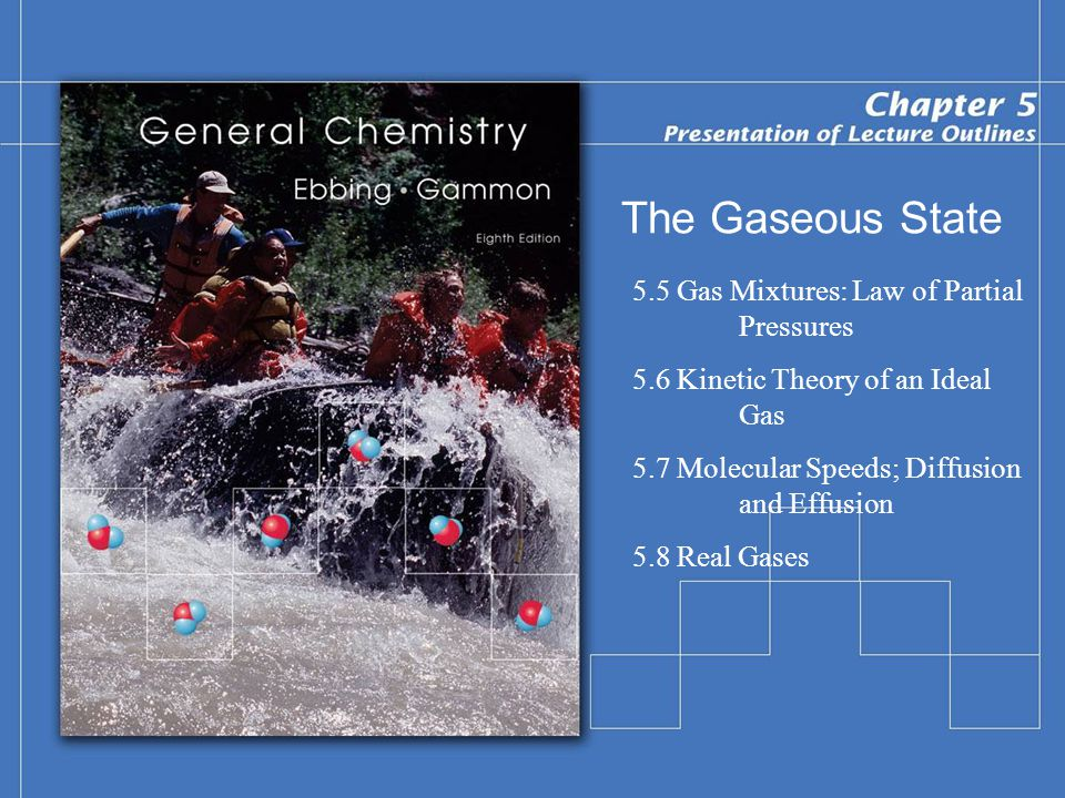 The Gaseous State 5.5 Gas Mixtures: Law of Partial Pressures 5.6 Kinetic Theory of an Ideal Gas 5.7 Molecular Speeds; Diffusion and Effusion 5.8 Real