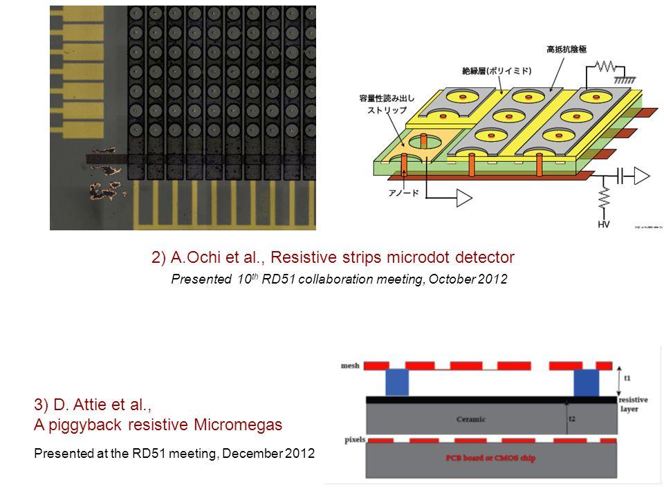 51 2) A.Ochi et al., Resistive strips microdot detector Presented 10 th RD51 collaboration meeting, October 2012 3) D. Attie et al., A piggyback resis