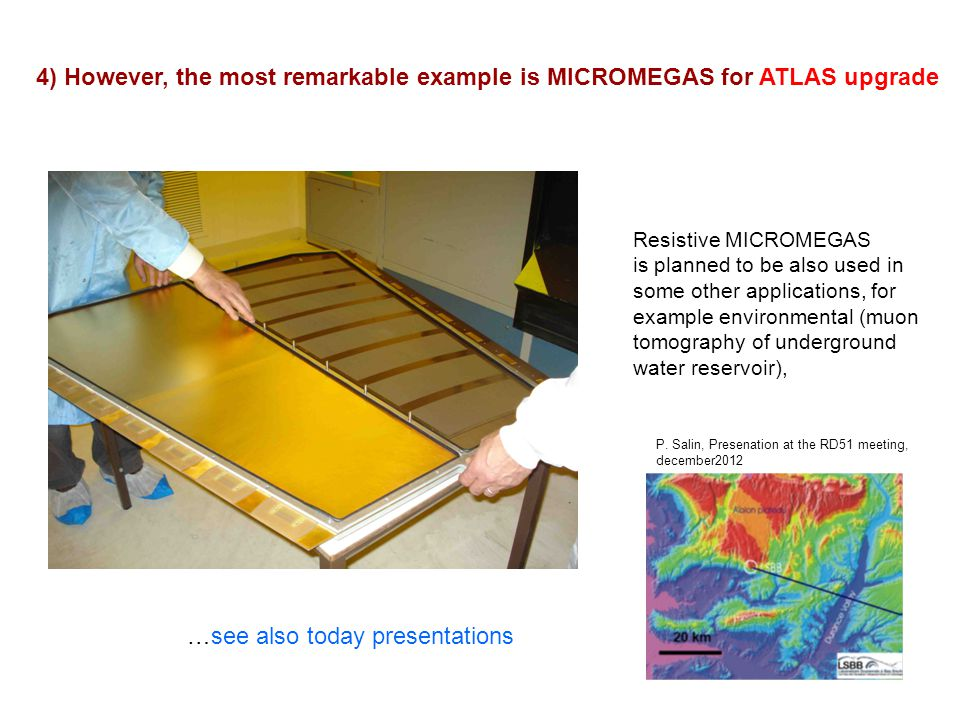 52 Resistive MICROMEGAS is planned to be also used in some other applications, for example environmental (muon tomography of underground water reservo