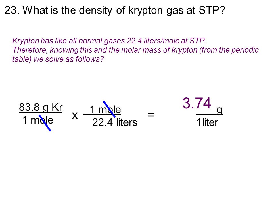 23.What is the density of krypton gas at STP.
