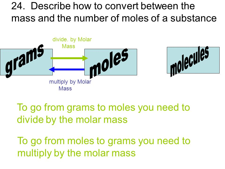 24.Describe how to convert between the mass and the number of moles of a substance divide.