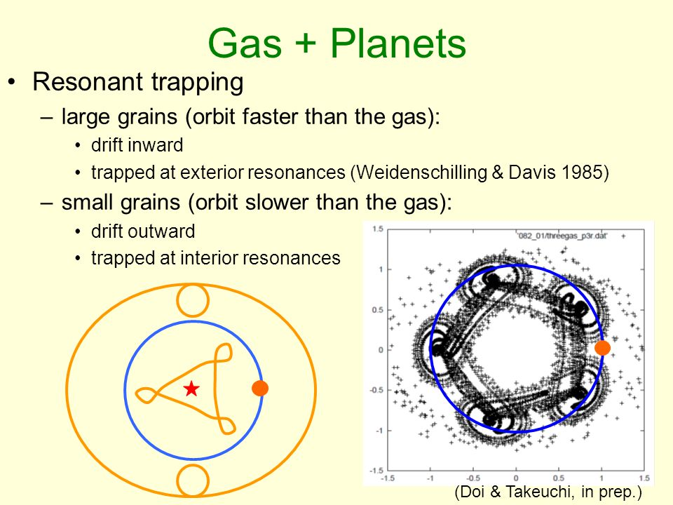 Gas + Planets Resonant trapping –large grains (orbit faster than the gas): drift inward trapped at exterior resonances (Weidenschilling & Davis 1985) –small grains (orbit slower than the gas): drift outward trapped at interior resonances (Doi & Takeuchi, in prep.)