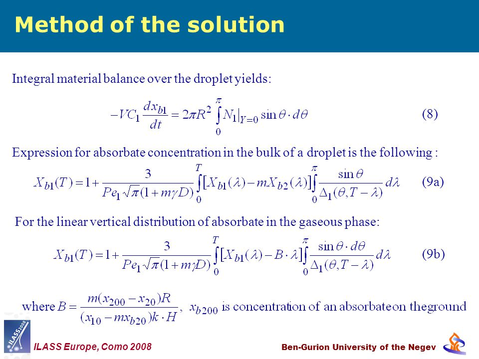 Method of the solution Ben-Gurion University of the Negev Integral material balance over the droplet yields: (8) Expression for absorbate concentration in the bulk of a droplet is the following : (9a) For the linear vertical distribution of absorbate in the gaseous phase: (9b) ILASS Europe, Como 2008 where