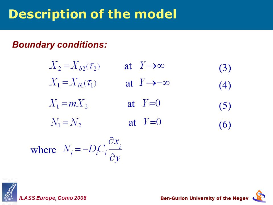 Description of the model Ben-Gurion University of the Negev Boundary conditions: where at (3) (4) (5) (6) ILASS Europe, Como 2008