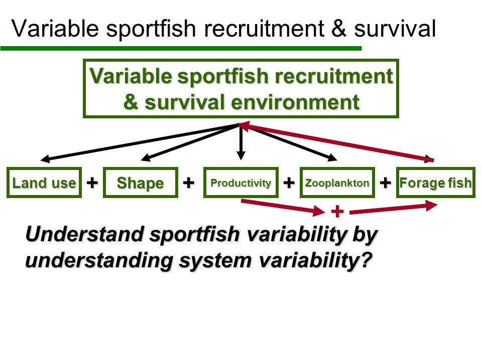 Variable sportfish recruitment & survival environment Variable sportfish recruitment & survival Land use Shape Productivity Forage fish Zooplankton + Understand sportfish variability by understanding system variability.