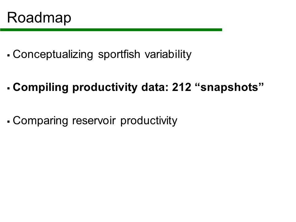 Roadmap  Conceptualizing sportfish variability  Compiling productivity data: 212 snapshots  Comparing reservoir productivity