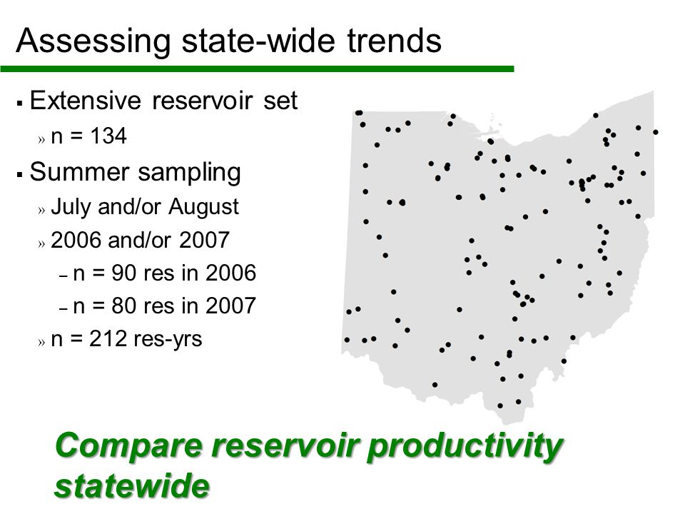 Assessing state-wide trends  Extensive reservoir set » n = 134  Summer sampling » July and/or August » 2006 and/or 2007 – n = 90 res in 2006 – n = 80 res in 2007 » n = 212 res-yrs Compare reservoir productivity statewide