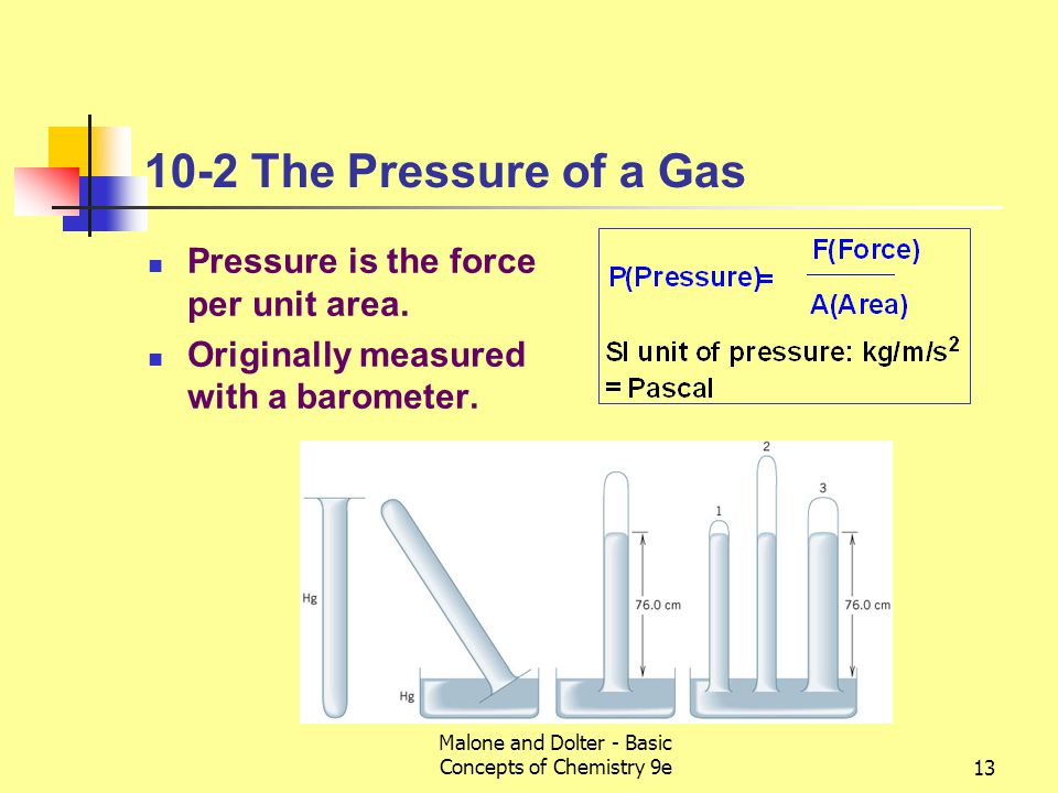 Malone and Dolter - Basic Concepts of Chemistry 9e13 10-2 The Pressure of a Gas Pressure is the force per unit area.