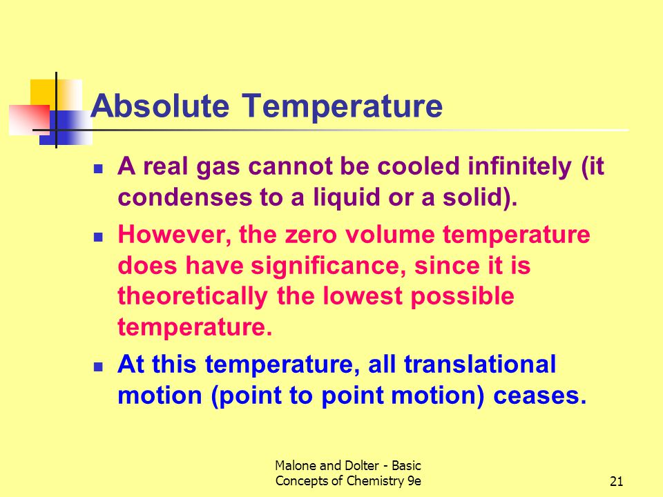 Malone and Dolter - Basic Concepts of Chemistry 9e22 The Kelvin Scale Begins at 0 K (-273.15  C), known as absolute zero.
