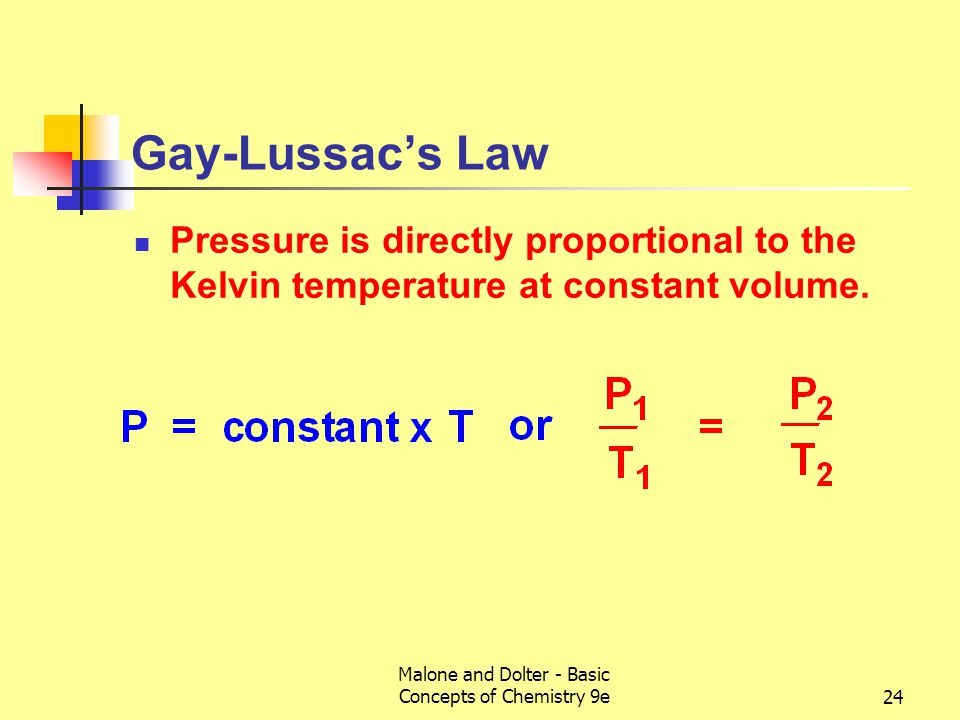 Malone and Dolter - Basic Concepts of Chemistry 9e25 Charles' and Gay-Lussac's Laws Both laws follow from the kinetic molecular theory of gases.