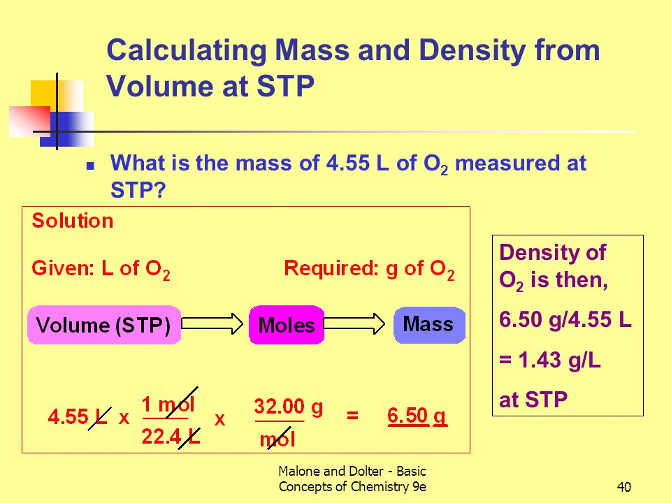 Malone and Dolter - Basic Concepts of Chemistry 9e40 Calculating Mass and Density from Volume at STP What is the mass of 4.55 L of O 2 measured at STP.