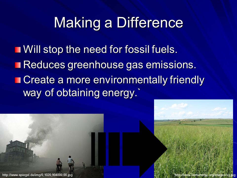 Making a Difference Will stop the need for fossil fuels. Reduces greenhouse gas emissions. Create a more environmentally friendly way of obtaining ene
