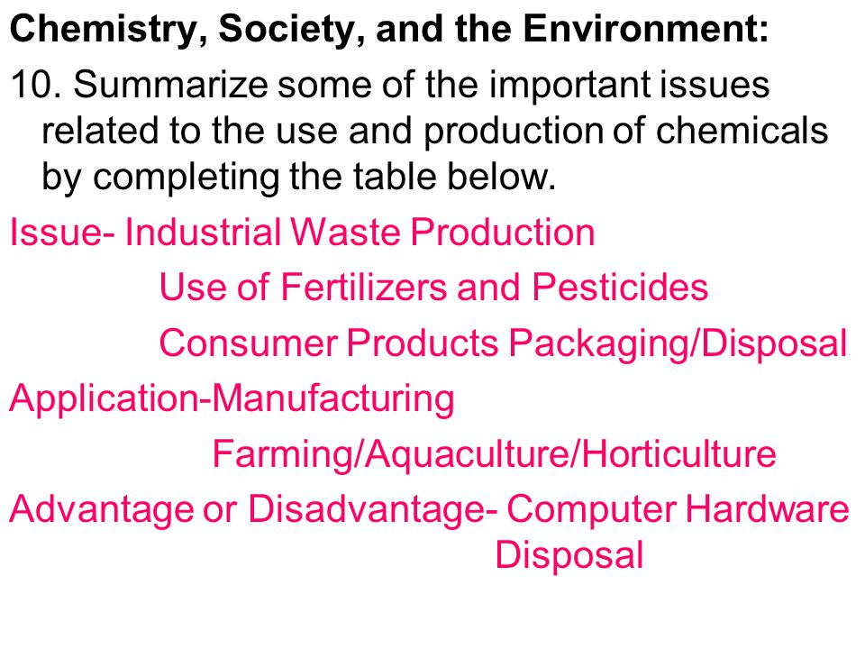 Chemistry, Society, and the Environment: 10.