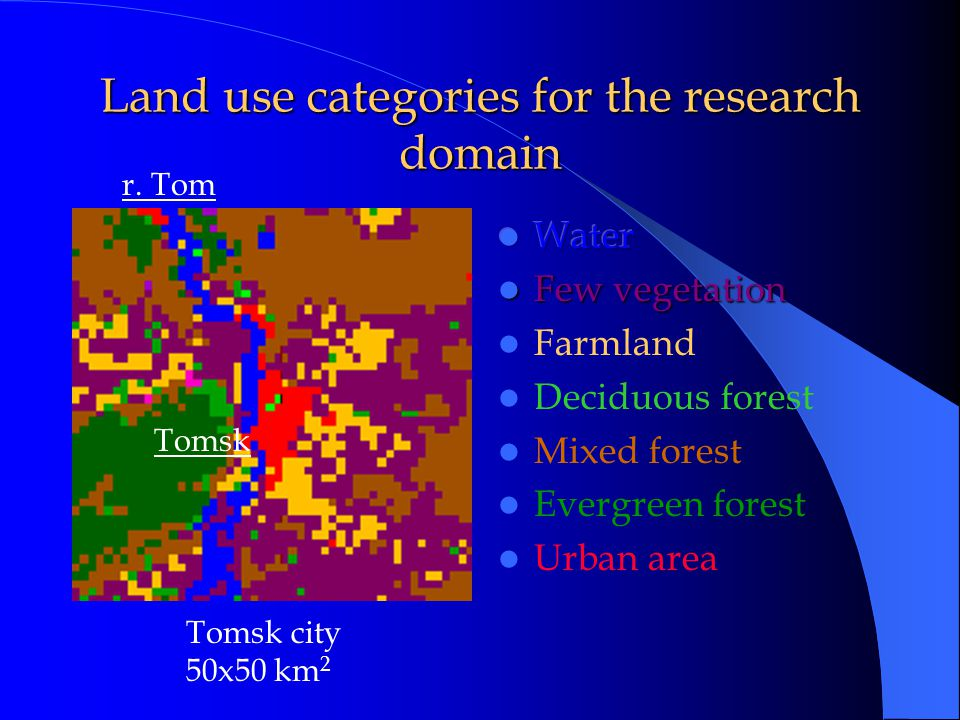 Land use categories for the research domain Tomsk city 50x50 km 2 r. Tom Tomsk