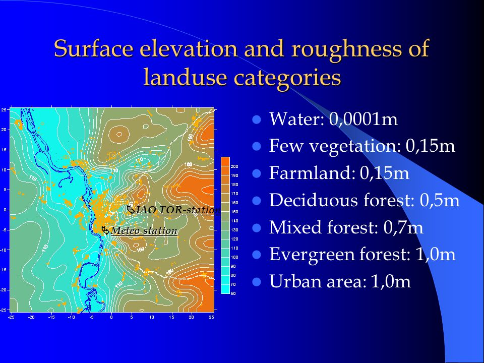 Surface elevation and roughness of landuse categories Water: 0,0001m Few vegetation: 0,15m Farmland: 0,15m Deciduous forest: 0,5m Mixed forest: 0,7m Evergreen forest: 1,0m Urban area: 1,0m  IAO TOR-station Meteo station  Meteo station