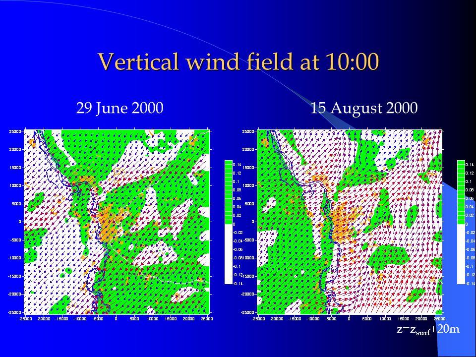 29 June 200015 August 2000 Vertical wind field at 10:00 z=z surf +20m