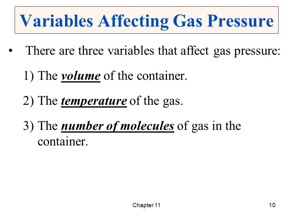 Chapter 1110 Variables Affecting Gas Pressure There are three variables that affect gas pressure: 1)The volume of the container. 2)The temperature of
