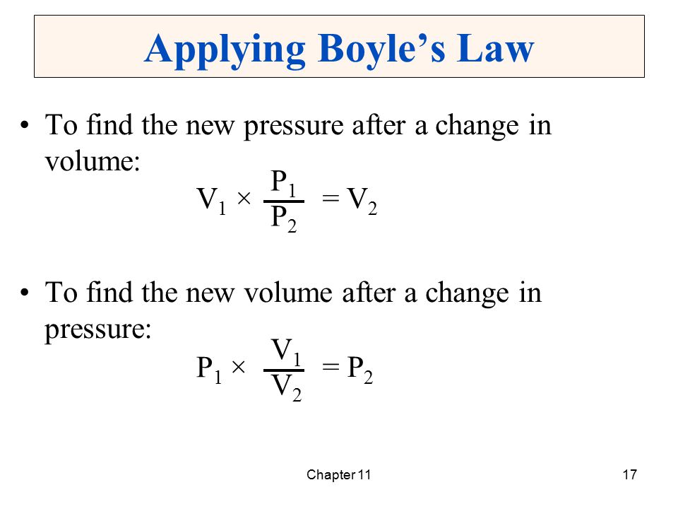 Chapter 1117 Applying Boyle's Law To find the new pressure after a change in volume: To find the new volume after a change in pressure: V1 ×V1 × P1P1