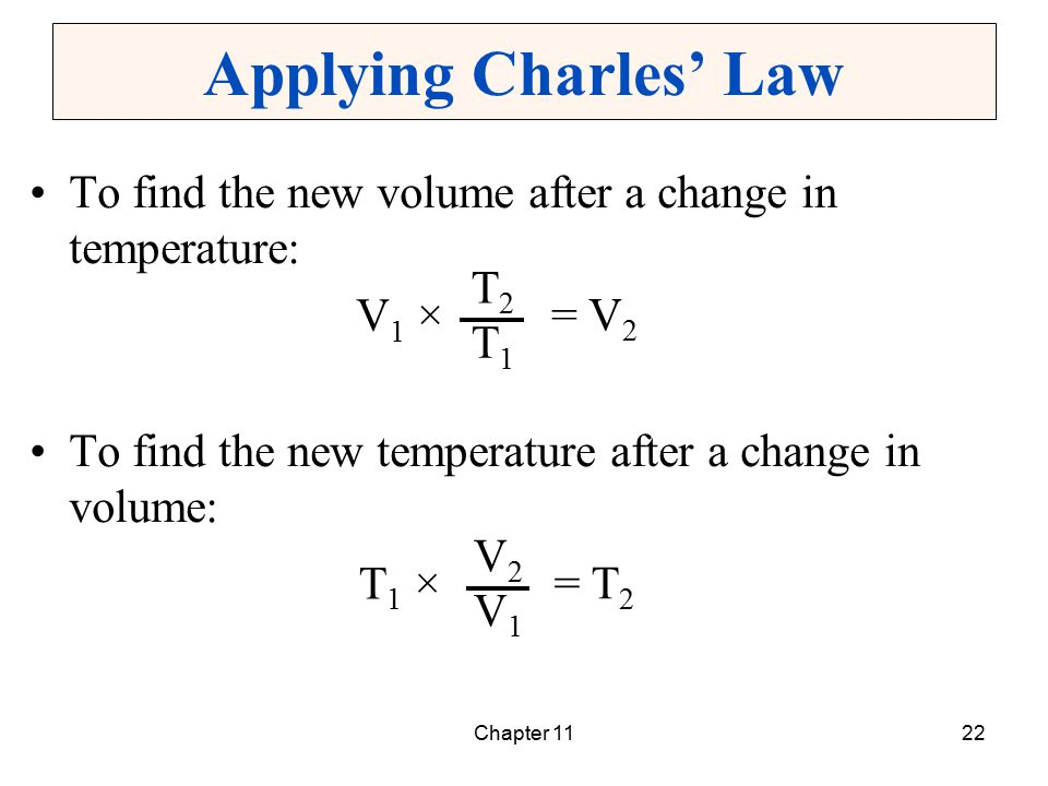 Chapter 1122 Applying Charles' Law To find the new volume after a change in temperature: To find the new temperature after a change in volume: V1 ×V1