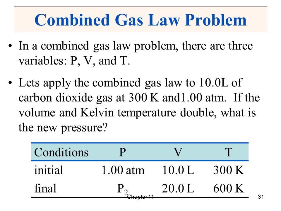 Chapter 1131 Combined Gas Law Problem In a combined gas law problem, there are three variables: P, V, and T. Lets apply the combined gas law to 10.0L