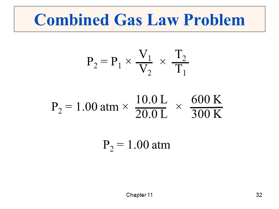 Chapter 1132 Combined Gas Law Problem T2T2 T1T1 P 2 = P 1 × V1V1 V2V2 × 600 K 300 K P 2 = 1.00 atm × 10.0 L 20.0 L × P 2 = 1.00 atm