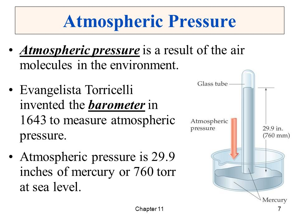 Chapter 118 Units of Pressure Standard pressure is the atmospheric pressure at sea level, 29.9 inches of mercury.