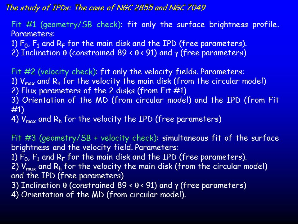 The study of IPDs: The case of NGC 2855 and NGC 7049 Fit #1 (geometry/SB check): fit only the surface brightness profile.