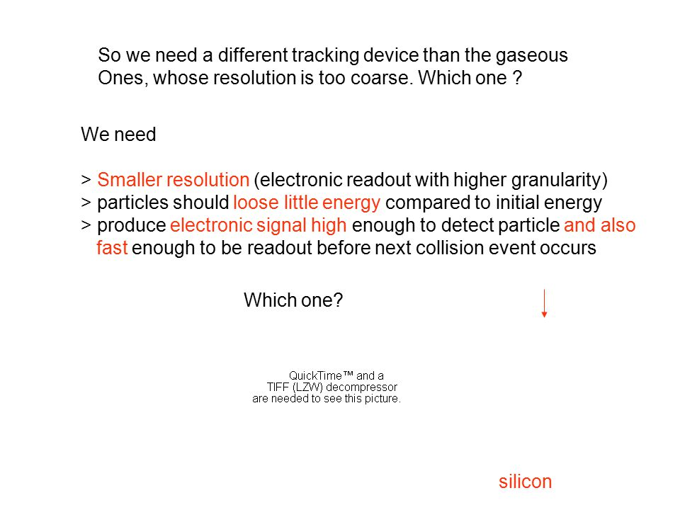 So we need a different tracking device than the gaseous Ones, whose resolution is too coarse.